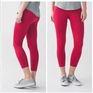 Lululemon Zone In Crop In Cranberry Red